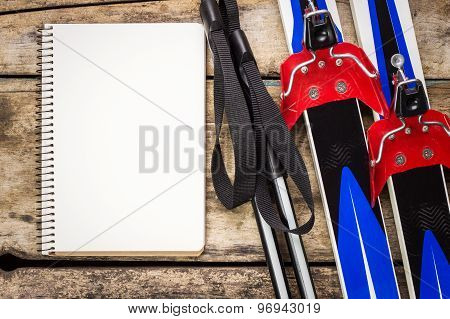 Ski Background With Empty Paper Notebook