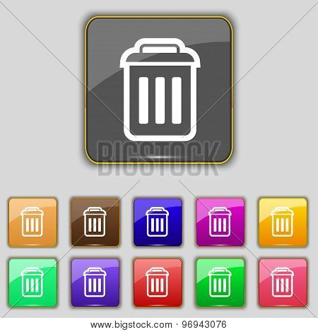 The Trash Icon Sign. Set With Eleven Colored Buttons For Your Site. Vector