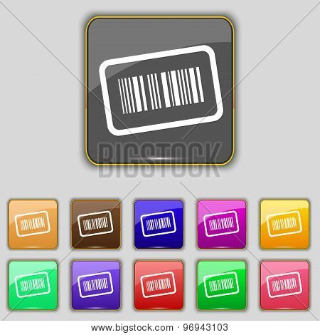 Barcode Icon Sign. Set With Eleven Colored Buttons For Your Site. Vector