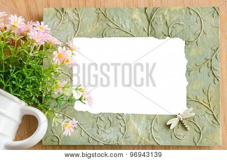 Blank Photo Frame And Pink Flower
