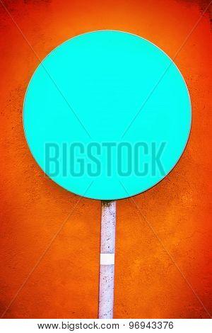 Blank Round Blue Cyan Sign