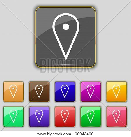 Map Poiner Icon Sign. Set With Eleven Colored Buttons For Your Site. Vector