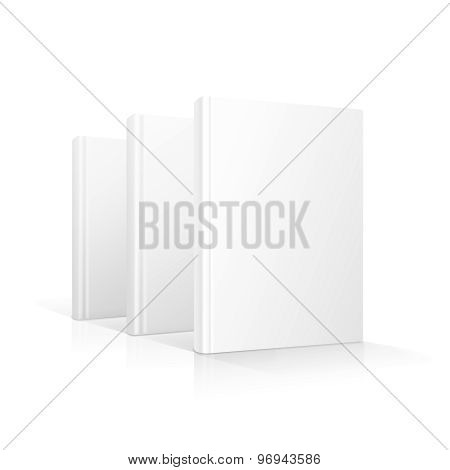 Blank books cover standing isolated
