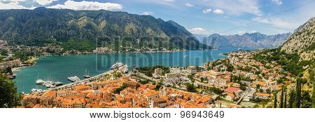 Top View On Kotor City And Bay