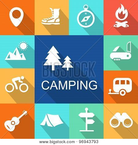 Camping icons Travel and Tourism concept.   Illustration.
