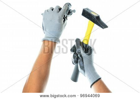 Worker Holding A Tool To Work With
