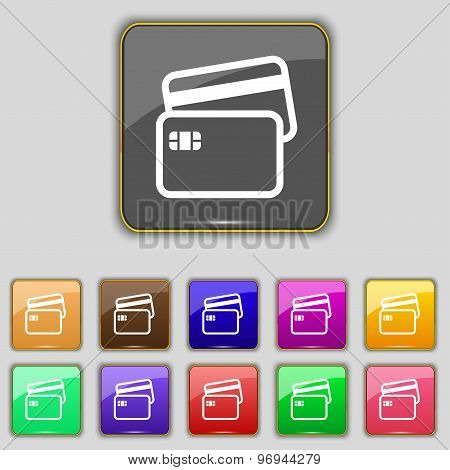 Credit Card Icon Sign. Set With Eleven Colored Buttons For Your Site. Vector