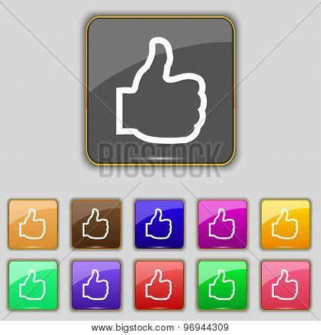 Like Icon Sign. Set With Eleven Colored Buttons For Your Site. Vector
