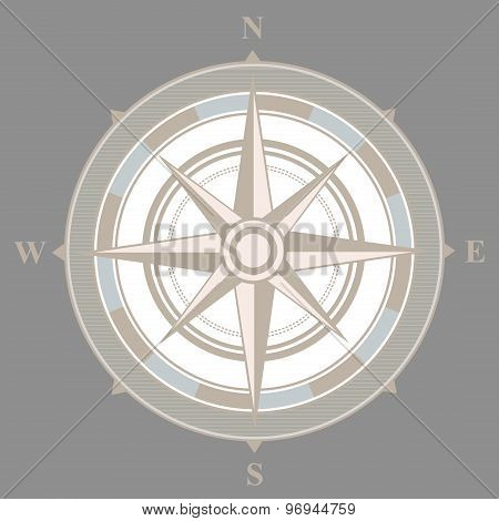 Vintage nautical or marine compass on gray background.  illustration