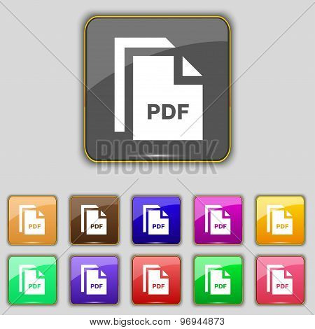 File Pdf Icon Sign. Set With Eleven Colored Buttons For Your Site. Vector