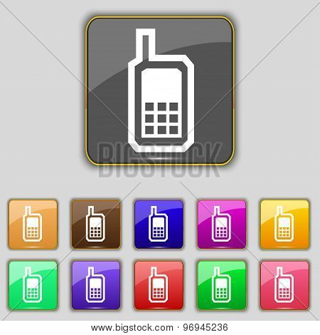 Mobile Phone Icon Sign. Set With Eleven Colored Buttons For Your Site. Vector