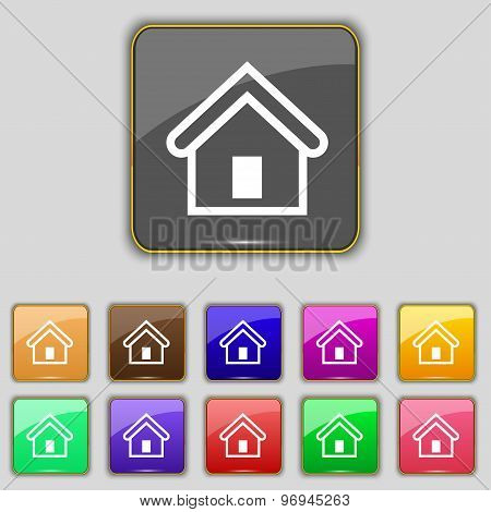 House Icon Sign. Set With Eleven Colored Buttons For Your Site. Vector