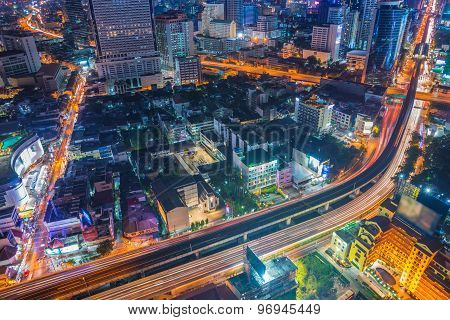 Top View Of Expressway Highway In Bangkok Thailand