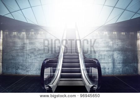 Escalator Staircase And Exit To Light