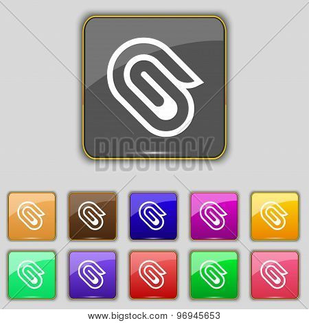 Paper Clip Icon Sign. Set With Eleven Colored Buttons For Your Site. Vector