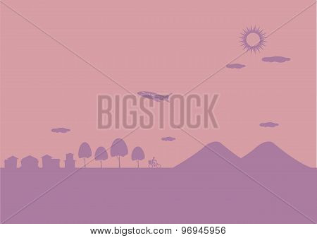 Airplane Over Hills Vector Background Illustration