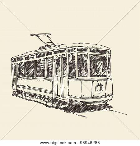 vintage tram, engraved illustration, hand drawn