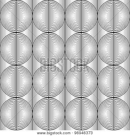 Design Seamless Monochrome Circle Lines Pattern