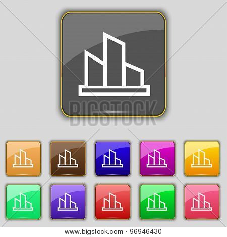 Diagram Icon Sign. Set With Eleven Colored Buttons For Your Site. Vector