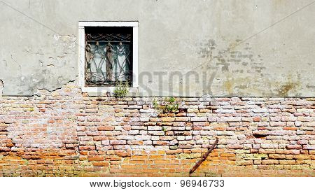 Window And Ancient Decay Wall Half Brick Wall