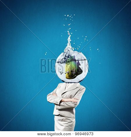 Woman with aquarium on head