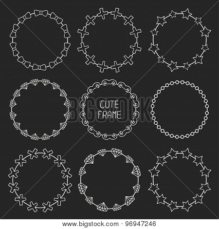 Hand drawn frames of fashion pattern with hipster elements for your design. Trendy doodle style. Bea