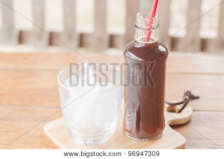 Bottle Of Black Coffee With Ice