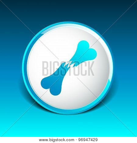 bone fracture flat icon caution nuclear radiation sign symbol