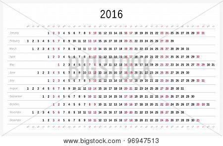 Vector calendar 2016