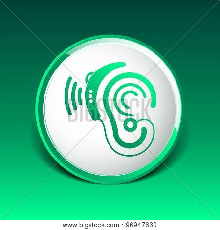 Ear vector icon hearing aid ear listen sound graphics