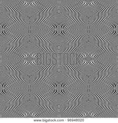 Design Seamless Monochrome Waving Lines Background