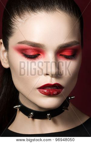 Young Beautiful Gothic Woman With Red Lips