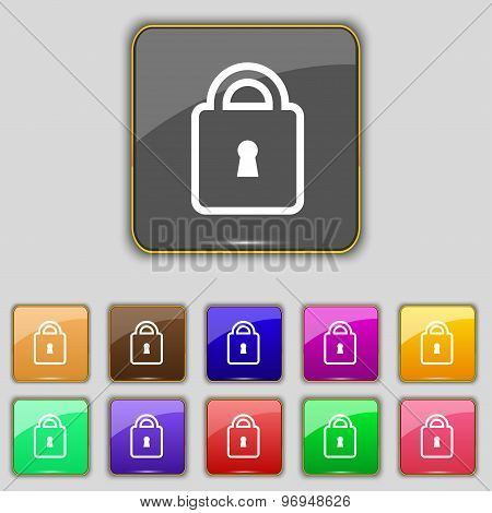 Lock Icon Sign. Set With Eleven Colored Buttons For Your Site. Vector