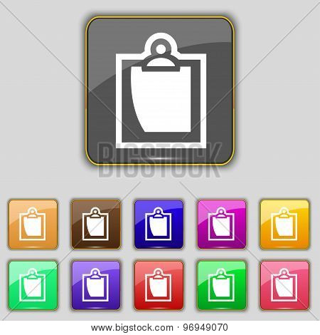 Sheet Of Paper Icon Sign. Set With Eleven Colored Buttons For Your Site. Vector
