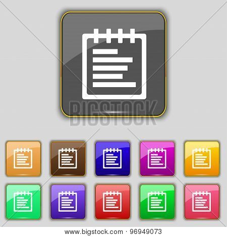 Notepad Icon Sign. Set With Eleven Colored Buttons For Your Site. Vector