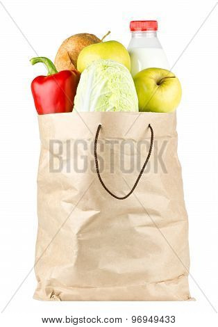 Paper Bag With Vegetables And Food