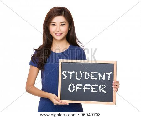 Asian woman with blackboard showing phrase of student offer