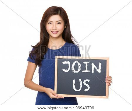 Asian woman with blackboard showing phrase of join us