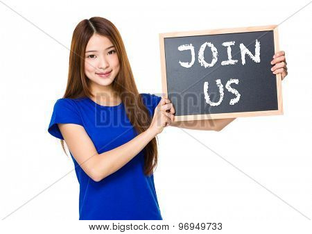 Beautiful asian women asian hold wood blackboard showing phrase of join us