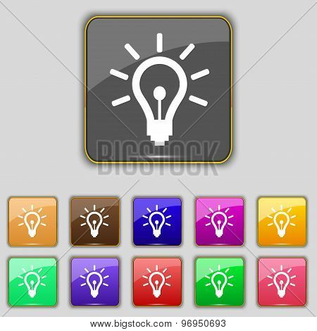 Light Bulb Icon Sign. Set With Eleven Colored Buttons For Your Site. Vector