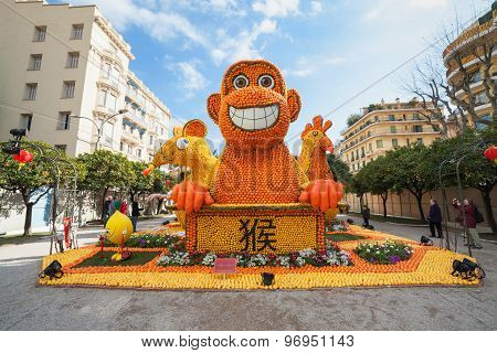 MENTON FRANCE - FEBRUARY 20: Chinese horoscope monkey mouse and rooster made of oranges and lemons o