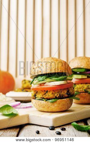 Vegan Millet Black Bean Pumpkin Burgers