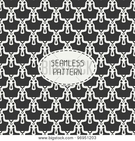 Geometric monochrome hipster line seamless pattern with vintage skull. Wrapping paper. Scrapbook pap