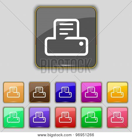 Printing Icon Sign. Set With Eleven Colored Buttons For Your Site. Vector