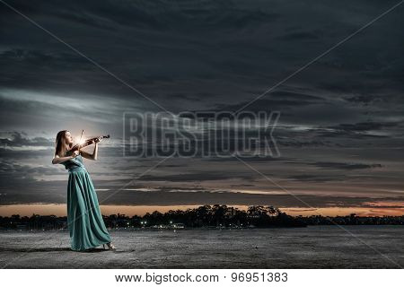 Elegant violinist player