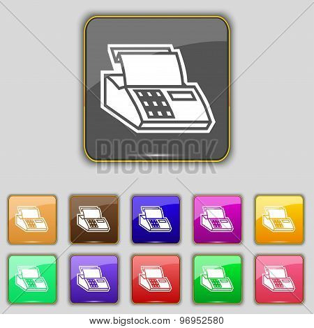 Cash Register Machine Icon Sign. Set With Eleven Colored Buttons For Your Site. Vector