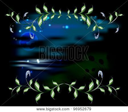 Landscape in the frame of branches with leaves. EPS10 vector illustration