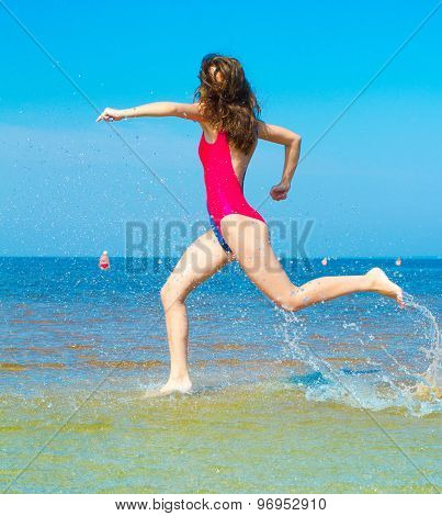 Clear Blue Sky Rushing Girl