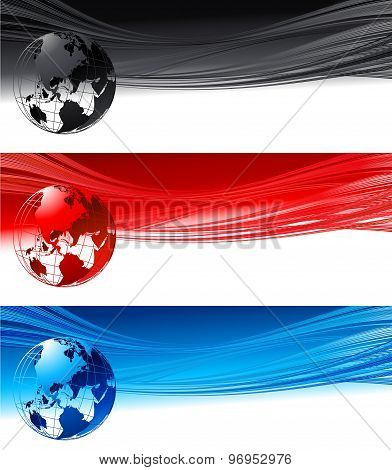Abstract waves with globe. Vector design eps 10