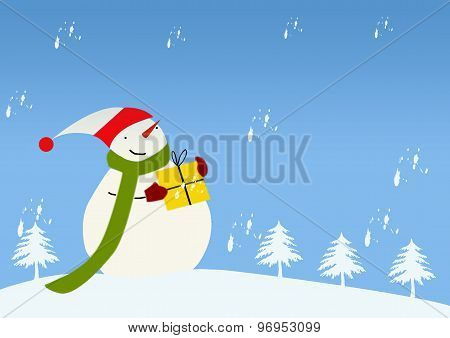 Snowy Winter Landscape With Jolly Snowman